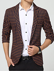 Men's Casual/Work/Formal Plaids & Checks Long Sleeve Regular Blazer (Nylon)Grid tide male suit