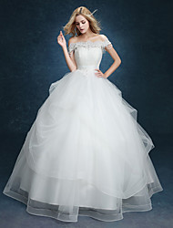 Ball Gown Wedding Dress - White Floor-length Off-the-shoulder Lace
