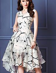 Women's Sexy/Casual Micro-elastic Sleeveless Midi Dress (Chiffon)