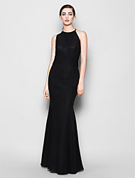Lanting Floor-length Chiffon Bridesmaid Dress - Black Plus Sizes / Petite Trumpet/Mermaid Halter / Jewel