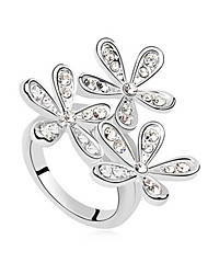 Women's European Style Fashion Smile Blossoming Flower Crystal Ring