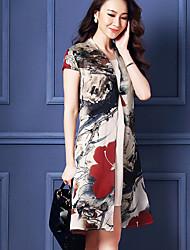 Women's Vintage Casual Micro Elastic Short Sleeve Midi Dress (Organza)