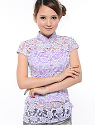Women's Casual Micro-elastic Short Sleeve Long Blouse (Lace/Cotton)