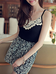 Women Casual Lace Black Vest Tank Top Shirt