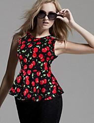 Informell/Bedruckt/Business Rund - Ärmellos - FRAUEN - T-Shirts ( Polyester )