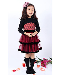 Girls' Dresses Long Sleeve Round Collar Fleece Lining Lace Layered Mesh Princess Dresses (Cotton)