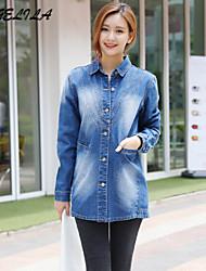Women's Long Sleeve Jacket (Denim)