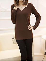 Women Long Sleeve V Neck Cross Back Slim Tunic Shirt  (Cotton/Cotton Blends)