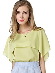 Women's Summer Fresh Round Neck Blouse , Chiffon Sleeveless