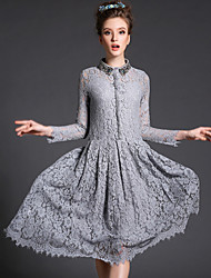 Autumn Europe Original Fashion Sexy Elegant Women Bead Lace Large Size Long Sleeve Casual/Party/Work Long Dress