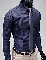 Men's Striped Casual / Work / Formal Shirt,Polyester Long Sleeve Black / Blue