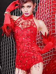 Women Lace/Polyester Sexy Tassel Halter Teddy Nightwear with Gloves