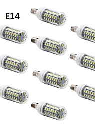 10 pcs E14 / G9 / E26/E27 7W 56 SMD 5730 600 LM Warm White / Cool White T LED Corn Lights AC 220-240 V
