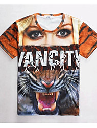 Women's High Quality Creative Generous Unique Summer Breathable 3D Style T-Shirt——Beauty and Tiger