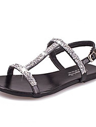 Women's Shoes Faux Leather Flat Heel Round Toe Sandals Casual Black/Silver/Gold