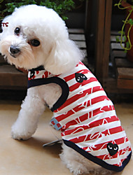 Cat / Dog Shirt / T-Shirt Red Summer Stripe Wedding / Cosplay