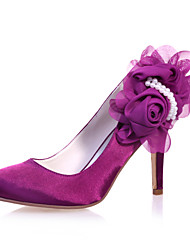 Women's Spring Summer Fall Winter Satin Wedding Party & Evening Stiletto Heel Flower Blue Purple Ivory White Silver Champagne