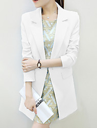 Women's Fall Blazer,Solid Shirt Collar Long Sleeve Blue / White Polyester Medium