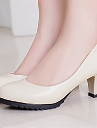 Pumps/Heels ( PU , Noir/Blanc/Amande ) Gros talon - 3-6cm pour Chaussures femme