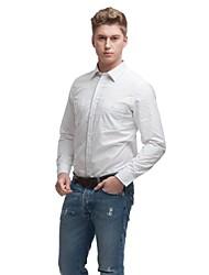 Primavera trecho ocasional lapela simples camisa de manga longa de algodão dos homens