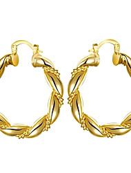 Fashion Circle Shaped Environmental Copper Popular Fashion Gold  Earrings (Rose Gold Plating,Gold Plating)(1Pair)