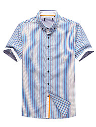 Men's Short Sleeve Shirt , Cotton Casual/Work/Sport Striped