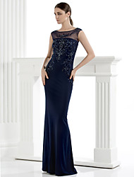 TS Couture® Formal Evening Dress - Dark Navy Sheath/Column Scoop Floor-length