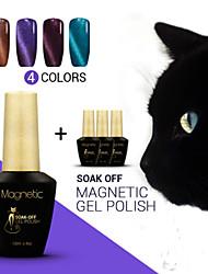 Azure 4Pcs/Lot Cat Eyes Gel Nail Polish UV Gel Primer Foundation Nail Gel Polish Magnetic Gel Nail UV  (#78+#96+#97+#98)