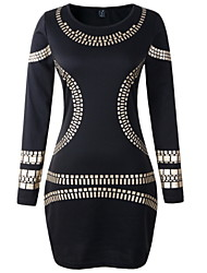 Women's Bodycon Dress,Print Round Neck Above Knee Long Sleeve White / Black Polyester Spring