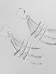 Wedding Dress Unique Design Silver Plated Drop Earrings for Lady