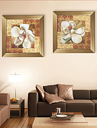 E-HOME® Framed Canvas Art, Flower Framed Canvas Print Set of  2