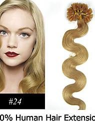 3set 20 Zoll remy Nagelspitze Haar wellig 0,5 g / s Echthaar Haarverlängerungen 7 Farben für Frauen Schönheit
