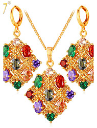 U7® Women's Luxurious Gemstone Necklaces Fashion Jewelry 18K Gold/Platinum Plated Multicolor Crystals Drop Earrings Sets