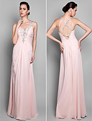 Formal Evening/Prom/Military Ball Dress - Pearl Pink Plus Sizes Sheath/Column Spaghetti Straps Floor-length Chiffon