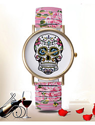 Mulheres Relógio de Moda Lega Banda Desenhos Animados / Caveira / Flor Preta / Branco / Azul / Rosa marca-