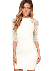 Women's Sexy Bodycon Casual Lace Plus Sizes Micro Elastic ½ Length Sleeve Above Knee Dress (Lace/Cotton)