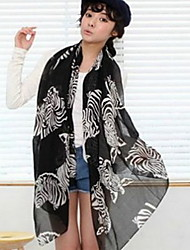 Winter Fashion Zebra Printed Chiffon Scarf Silk Scarves