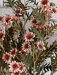 1 Bunch 18 Heads Thai Daisy Flowers Artificial Silk Bouquet Home Garden Decor (Random Color)