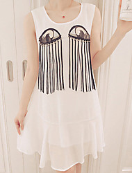 Women's Print/Solid Dress , Casual Round Neck Sleeveless Beaded/Tassel