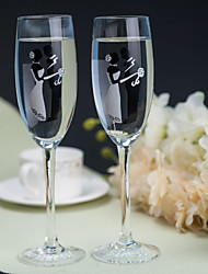 Color Hand-painted Toasting Flutes (Set of 2)---- Embracing of the Groom and Bride