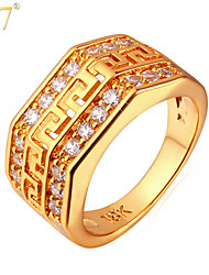 U7® Men's 18K Gold/Platinum Plated Fashion Rings Designs Men Jewelry Gifts G Pattern Zircons Vintage Band Rings
