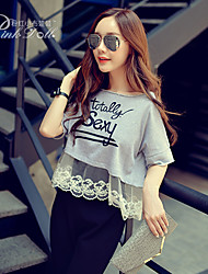 Pink Doll®Women's Round Neck Casual/Print Cute Patchwork Loose T-shirt