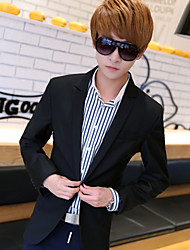 Men's Casual/Work/Formal/Plus Sizes Pure Long Sleeve Regular Blazer (Cotton)A grain of buckle a suit of thin section