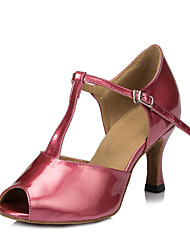 Non Customizable Women's Dance Shoes Salsa Flocking Flared Heel Brown/Pink/Ivory