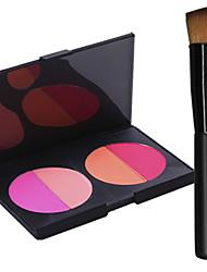 Pro Party 4 Colors Face Blush Blusher Powder Palette + 1PCS Makeup Foundation Brushes