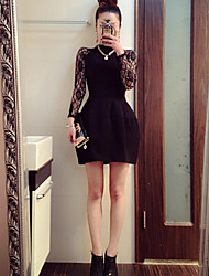 Women's Solid/Lace Red/Black Dress , Sexy Turtleneck Long Sleeve Lace