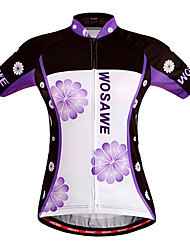 WOSAWE Women's Summer Sport Jersey Bike Cycling Bicycle Quick Dry Top Breathable Flowers Print full length zipper Shirt