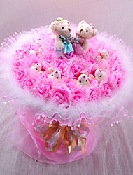 Bear And Artificial Flower Bouquet Valentine's Day Gift Wedding Bouquet