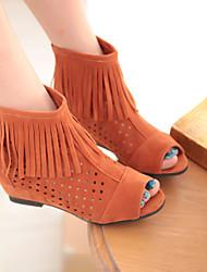 Zapatos de mujer - Tacón Cuña - Punta Abierta / Zapatos de Cuna - Sandalias / Botas - Vestido - Semicuero - Negro / Amarillo / Naranja