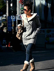 Women's Casual Thick Long Sleeve Long Hoodies with Cap (Cotton Blends)